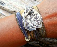 Monogram Bracelet, Initial Jewelry, Letter Bracelet, Silk Ribbon Wrap Bracelet A B C D E F G H I J K L M N O P Q R S T U V X Y Z, Pick Color on Etsy, $49.95