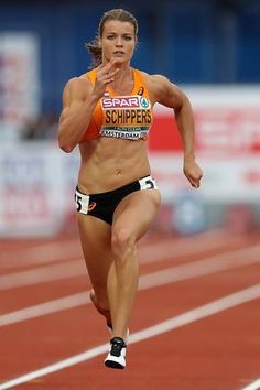 Dafne Schippers of The Netherlands in action during the semi final of the womens 100m on day three of The 23rd European Athletics Championships at Olympic Stadium on July 8, 2016 in Amsterdam, Netherlands.
