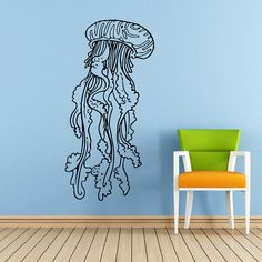 Jellyfish Wall Decal Scuba Tentacles Deep Sea by SuperVinylDecal