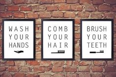 """Set of Three 8"""" x 10"""" BATHROOM SIGNS PRINTABLE. Brush Your Teeth. Comb Your Hair. Wash Your Hands. Kids Bathroom Rules Wall Art & Decor."""