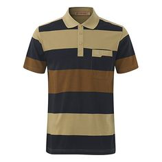 s Stripe Printed Turn-down Collar Short Sleeve Casual Business Polo... (360 ARS) ❤ liked on Polyvore featuring men's fashion, men's clothing, men's shirts, men's polos, mens summer shirts, mens striped shirt, mens short sleeve polo shirts, mens long sleeve summer shirts and mens polo collar shirts