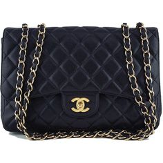 Pre-Owned Chanel Black Caviar Jumbo 2.55 Classic Flap Bag ($4,199) ❤ liked on Polyvore featuring bags, handbags, black, quilted handbags, chanel handbags, preowned handbags, zip purse and woven handbags