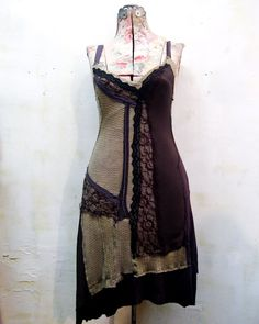 the minden dress.. a hand-dyed patchwork; of lace & bark.
