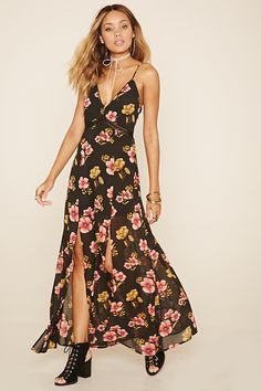 A woven maxi dress featuring an allover floral print, M-slit front, adjustable cami straps, V-neckline, crochet trim, self-tie back straps, and a concealed side zipper.