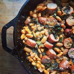 Roasted Sausage, Chard, and Cannellini Beans recipe: An easy to throw together weeknight dinner. #food52