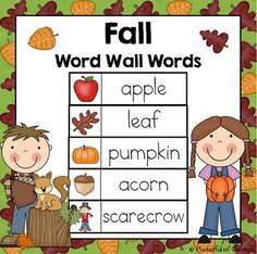 This download includes 35 fall themed words that can be used on a word wall or pocket chart for a varieity of activities!