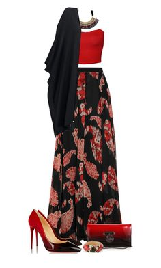 """Crop Top & Printed Maxi Skirt"" by anmarga ❤ liked on Polyvore featuring Giambattista Valli, Violeta by Mango, WearAll, New Look, Christian Louboutin and Isabel Marant"