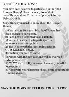 Hunger Games Birthday Party Invite!