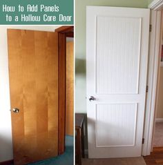 Home Renovation How to Add Molding Panels to a Flat Door - Pretty Handy Girl - How to dress up hollow flat doors with moulding panels. This is an easy DIY project that will make a big difference in the appearance of a dated home. Easy Diy Projects, Home Projects, Home Renovation, Home Remodeling, Hollow Core Doors, Brown Doors, Door Makeover, Diy Décoration, Diy Crafts