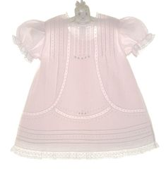 NEW Feltman Brothers Pale Pink Vintage Style Baby Dress with Lace Insertion and Embroidery $70.00