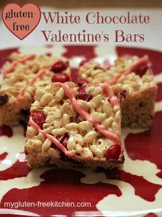 Gluten-free White Chocolate Valentine's Bars - These no-bake crispy rice bars are a fun and easy gluten-free treat!
