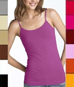 Regular Length Spaghetti Strap Tank Top Camis Basic Camisole Cotton Plain Solid Color ♥