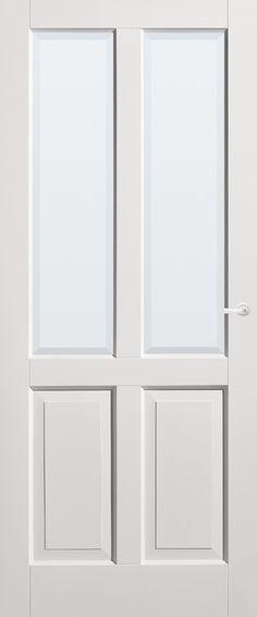 Panel Door Temperament with white faceted glass | Timeless | stock | Bruynzeel Doors