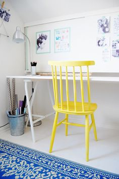 White with yellow chair & blue carpet Room Inspiration, Interior Inspiration, Home Office, Retro Office, Ikea Chair, Swivel Chair, Chair Bench, Chair Cushions, Dining Chair