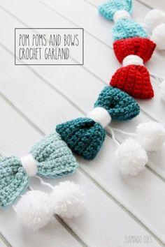 Pom Poms And Bows Crochet Garland By Bev - Free Crochet Pattern - (flamingotoes) Crochet Hair Bows, Crochet Hair Accessories, Crochet Hair Styles, Crochet Flowers, Crochet Socks, Crochet Garland, Crochet Decoration, Crochet Ornaments, Crochet Snowflakes