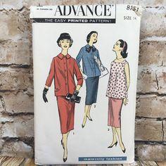 Vintage Advance 8151 Ladies Maternity Suit Overblouse Size 14 Sewing Pattern #Advance
