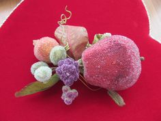 Vintage beaded mixed fruit bouquet display by beaderbeads on Etsy