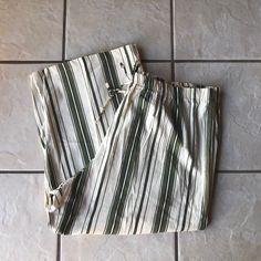 Fresh PLUS Size Bone Olive Green Black Stripe Cotton Capri Lounge Pants 3X Euc #Capri #CaprisCropped