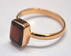 Rose Gold Garnet Stone Ring on Etsy, $42.00
