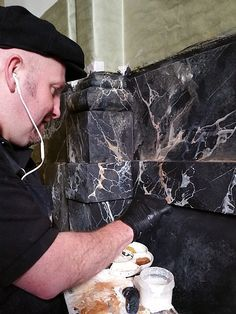 Faux Marble For The Travellers Club, Pall Mall - Henry Van Der Vijver Marble Columns, Marble Wall, Gold Marble, Marble Painting, Stencil Painting, Painting On Wood, Painting Furniture, Marble Effect Paint, Pall Mall