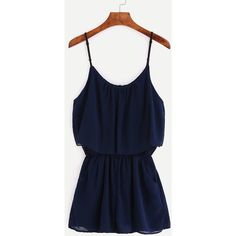 Navy Spaghetti Strap Chiffon Romper ($11) ❤ liked on Polyvore featuring jumpsuits, rompers, navy, navy blue rompers, blue romper, long-sleeve rompers, navy rompers and sleeveless rompers