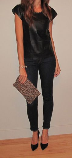casual night out... leather tee, dark skinnies, pointed pumps, leopard print clutch