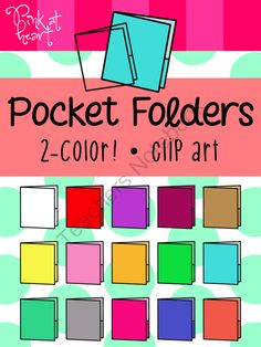 Pocket Folders (2-Color) Clip Art from Pink at Heart on TeachersNotebook.com -  (19 pages)  - png - 16 2-Color Pocket Folders!