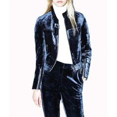 --evaChic--This 3.1 Phillip Lim Velvet Biker Jacket from FW16 runway is an upscale version of the edgy biker jacket that aligns with the velvet trend. The slightly fitted silhouette is accentuated with curved trapunto seams inspired by stitching seen on traditional uniforms. Tie the oversize collar belt into a bow to make a fashion statement.              http://www.evachic.com/product/3-1-phillip-lim-velvet-biker-jacket/
