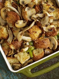 The combination of rich brioche French bread and wild mushrooms makes for an out-of-this-world stuffing.