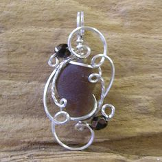 Chocolate Brown Genuine Sea Glass Sterling Silver Wire Sculpted Pendant by wiregems on Etsy