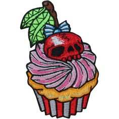 Cupcake Cherry Skull Horror Food Kreepsville Embroidered Iron On... (9.12 CAD) ❤ liked on Polyvore featuring home and kitchen & dining