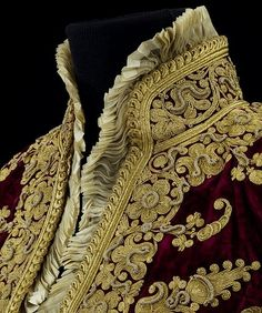 Detail of a ceremonial jacket. 1880, Bosnia. Silk velvet, embroidered with metal thread, trimmed with silk chiffon and lined with silk damask. (Victoria & Albert Museum, London).