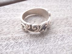 Vintage Sterling Silver Scroll Band Ring by by Rachelmariedesigns, $19.00