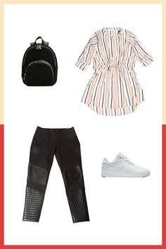 Missguided Tie Waist Striped Shirt Dress, $40, available at Missguided; Eloquii Miracle Flawless Faux Leather Moto Leggings, $79.90, available at Eloquii; Nike Air Force 1 Flyknit Low, $160, available at Nike; Zara Faux Fur Finish Backpack, $49.90,