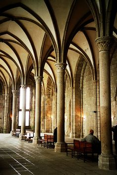 Mont St-Michel - inside of abbey church Cathedral Architecture, Gothic Architecture, Beautiful Architecture, Architecture Details, Abandoned Houses, Abandoned Places, Abandoned Mansions, Beautiful Castles, Beautiful Buildings