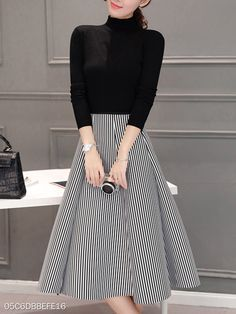 High Neck Striped Two-Piece Skater Dress - Outfit Post Mode Outfits, Dress Outfits, Maxi Dresses, Woman Dresses, Circle Skirt Outfits, Dress Shoes, Simple Dresses, Casual Dresses For Women, Awesome Dresses