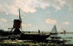 J.H. Weissenbruch (1824 – 1903), Riviergezicht met pramende boer, ca. 1870, olieverf op paneel, 24 x 37 cm, Groninger Museum, Groningen