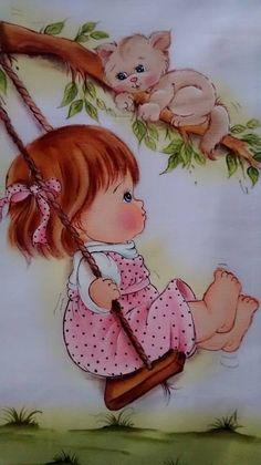Cute Baby Girl swinging on swing with kitten in tree illustration