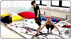 large group painting on the floor