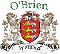O'Brien coat of arms. Irish coat of arms for the surname O'Brien from Ireland. View your coat of arms at http://www.theirishrose.com/#top_banner or view the O'Brien Family History page at http://www.theirishrose.com/pages.php?pageid=43