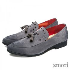 Grey Suede Tassel Spikes Mens Loafers Flats Dress Shoes, Shoe Width: MediumUpper Material: Faux Leather InnerDecorations: Faux Leather and Rubber Sole Grey Loafers, Loafers Outfit, Penny Loafers, Flat Dress Shoes, New Shoes, Flat Shoes, Loafers For Women, Loafers Men, Mens Grey Shoes