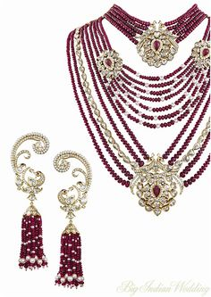 Mirari Rubies and Diamond set with peacock motif