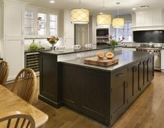 Transitional L-shaped Grey kitchen, white cabinets, Ruth Riemer,