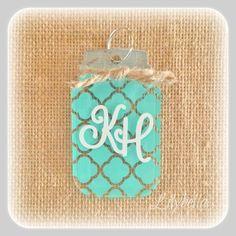 Key Chain  Mason Jar Key Chain - Quatrefoil - by lilybellaboutique