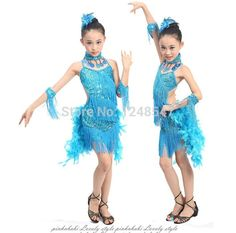 e566b9810f03 Children Kids Sequin Feather Fringe Stage Performance Competition Ballroom Dance  Costume Latin Dance Dress For Girls