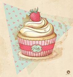 my Vintage Cupcake Art Print by hideer Cupcake Illustration, Cupcake Torte, Cupcake Fondant, Cupcake Logo, Cupcake Vector, Rose Cupcake, Cupcake Toppers, Cupcake Kunst, Logo Doce