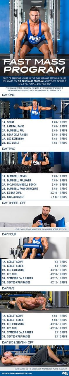 Tired of spending hours in the gym without getting the results you want? Try the Fast Mass program; a superset workout to get you pumped and on your way!