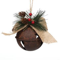 Holiday Hoedown Metal Bell Ornament - At Home Clear Christmas Ornaments, Farmhouse Christmas Ornaments, Christmas Jingles, Christmas Ornament Crafts, Rustic Christmas, Christmas Time, Holiday, Christmas Bells, Homemade Christmas