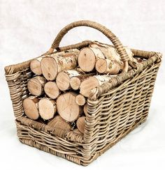 Logs Direct are specialist suppliers of Whole round decorative birch logs. Logs Direct can supply decorative logs to commercial or residential premises throughout the UK. Wood Storage Box, Firewood Storage, Kitchen Storage, Decorative Fireplace Logs, Firewood Logs, Firewood Basket, Log Burning Stoves, Birch Logs, Fireplace Bookshelves