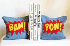 Decorative comic book-style bookends made from upcycled denim filled with dried beans. Perfect for your little comic book lover